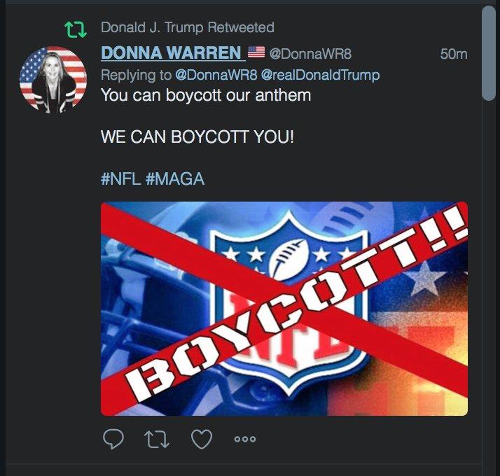 Trump now seems to be endorsing an NFL boycott https://t.co/fVUpyaWHDg