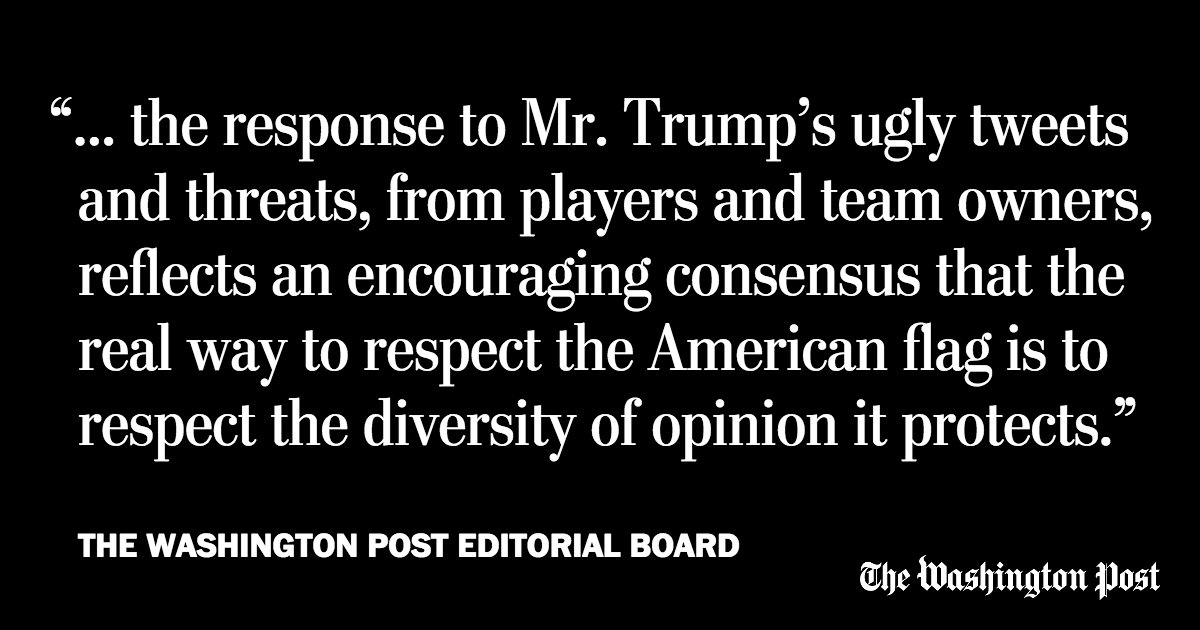 The Post's Editorial Board: This is what the flag stands for, Mr. President https://t.co/MCd2v1Vl3o https://t.co/Hu19HwfauG