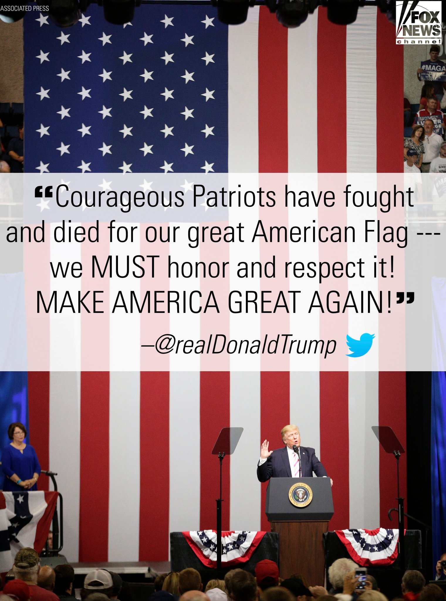 Moments ago, President @realDonaldTrump sent a message honoring the American flag. https://t.co/dMH7w9sjvQ