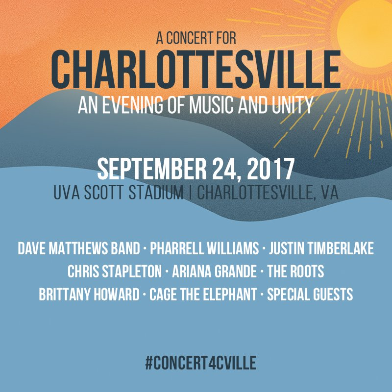 """A Concert for Charlottesville"" is NOW live! Tune in at https://t.co/QuUPOeqc7p. #musicandunity #concert4cville https://t.co/5MulUlmBOL"