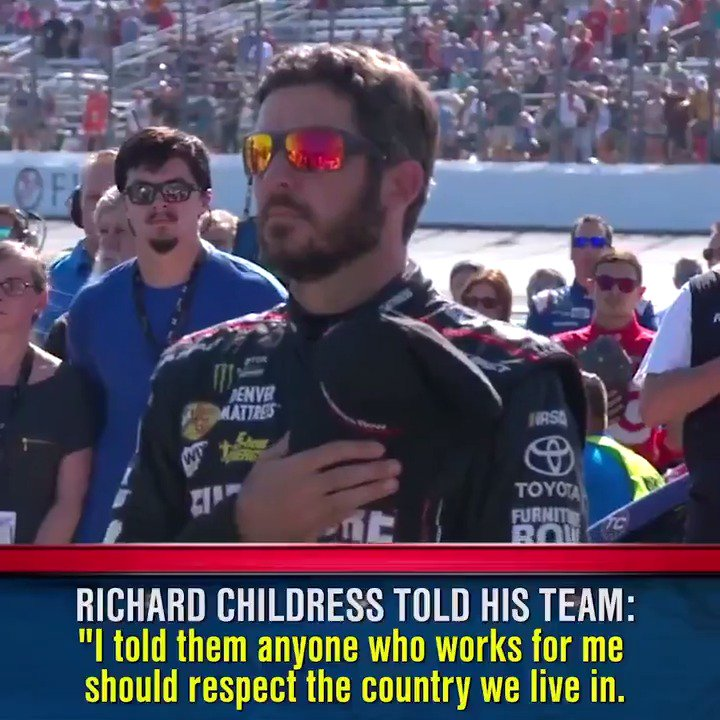 Unlike the NFL, all NASCAR teams stood during Sunday's national anthem...