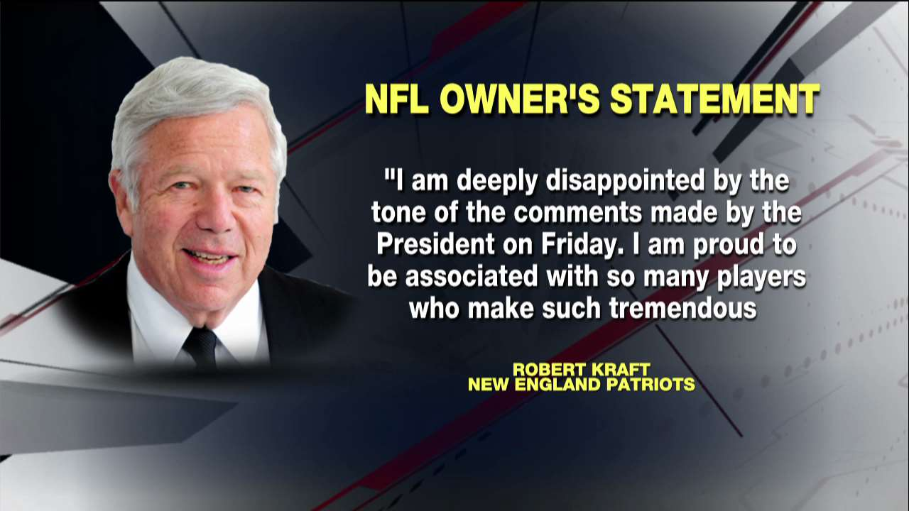 .@Patriots owner Robert Kraft issues statement on @POTUS' NFL comments @ANHQDC https://t.co/rpdBzIwcdm https://t.co/U8WcVoUvxy