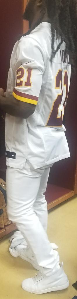DJ Swearinger wearing a Sean Taylor jersey out of the #Redskins locker...