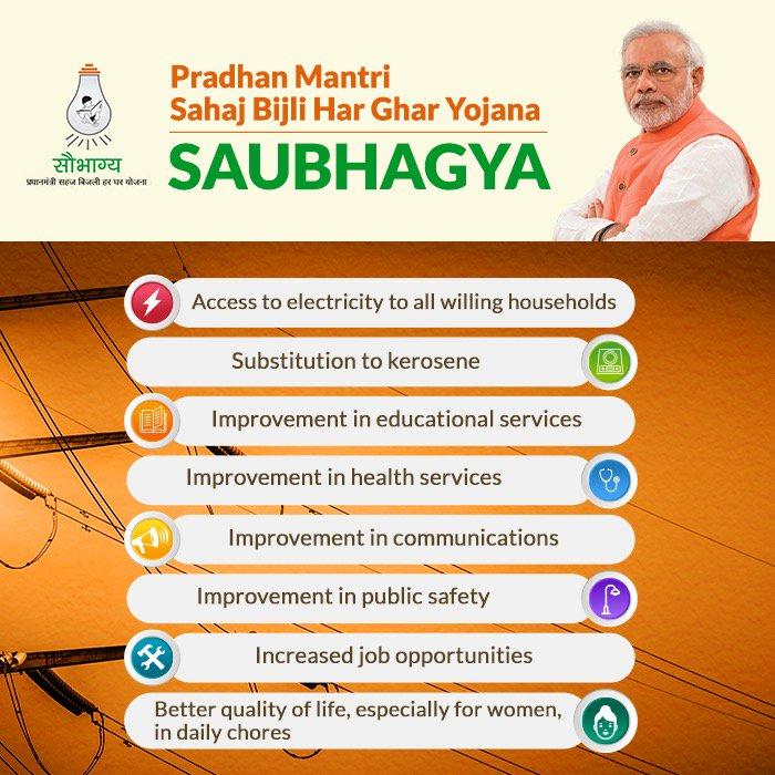 PM @narendramodi will launch the Saubhagya Yojana this evening.