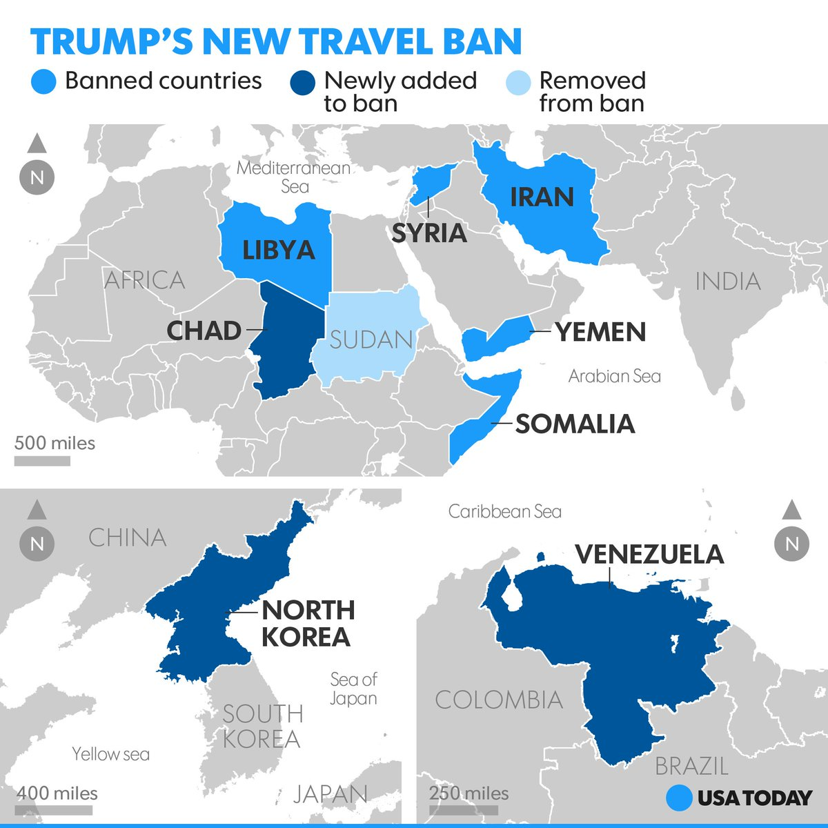 Trump's new travel ban drops Sudan from the list and adds Chad, North Korea, and Venezuela.