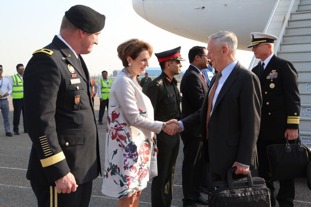 US defence secretary Jim Mattis arrives in Delhi; First high-ranking Trump official to land in Delhi.