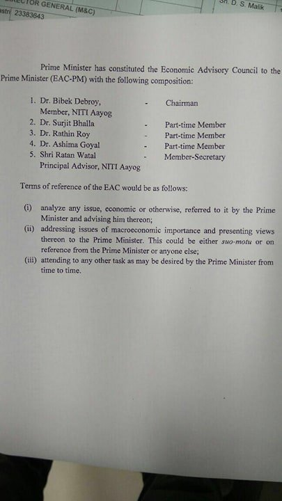 PM Modi constitutes Economic Advisory Council to PM (EAC-PM), with @bibekdebroy as Chairman