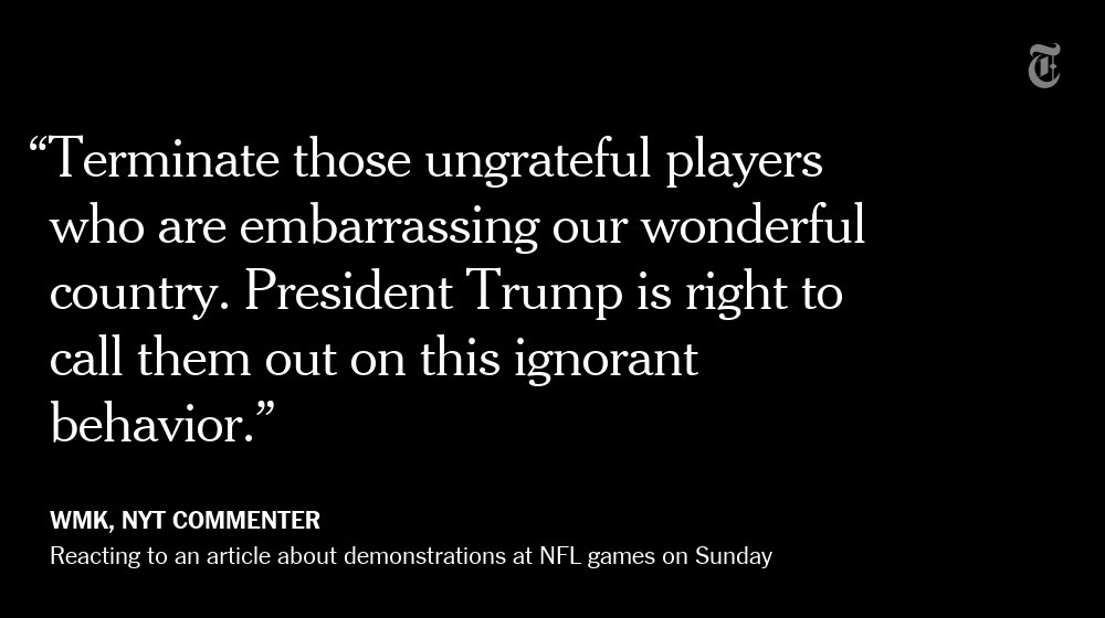 One NYT reader's reaction to demonstrations at NFL games on Sunday
