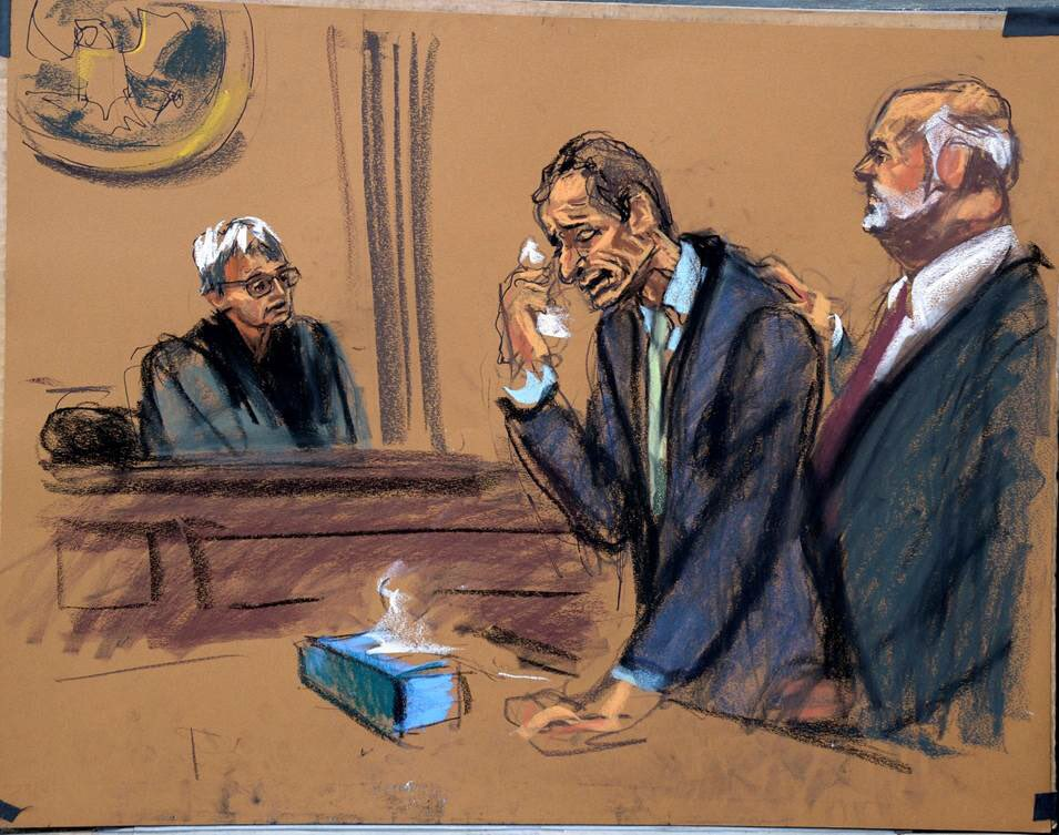 Courtroom sketch of Anthony Weiner during his sentencing belongs in a museum.