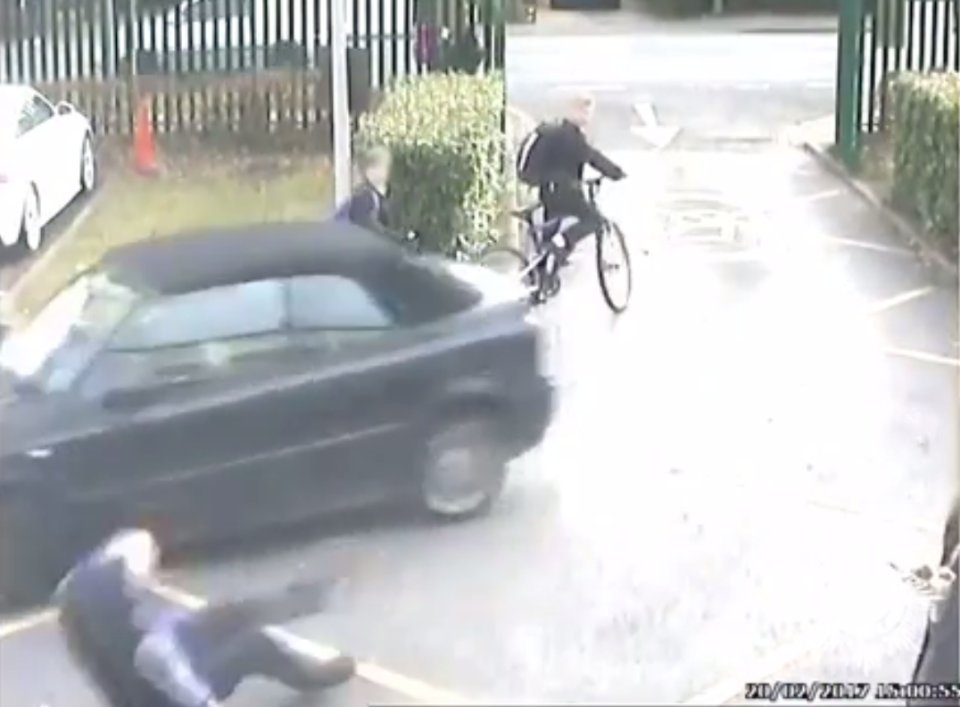 Dramatic moment parent runs over teacher in front of stunned pupils after strict head's parking ban