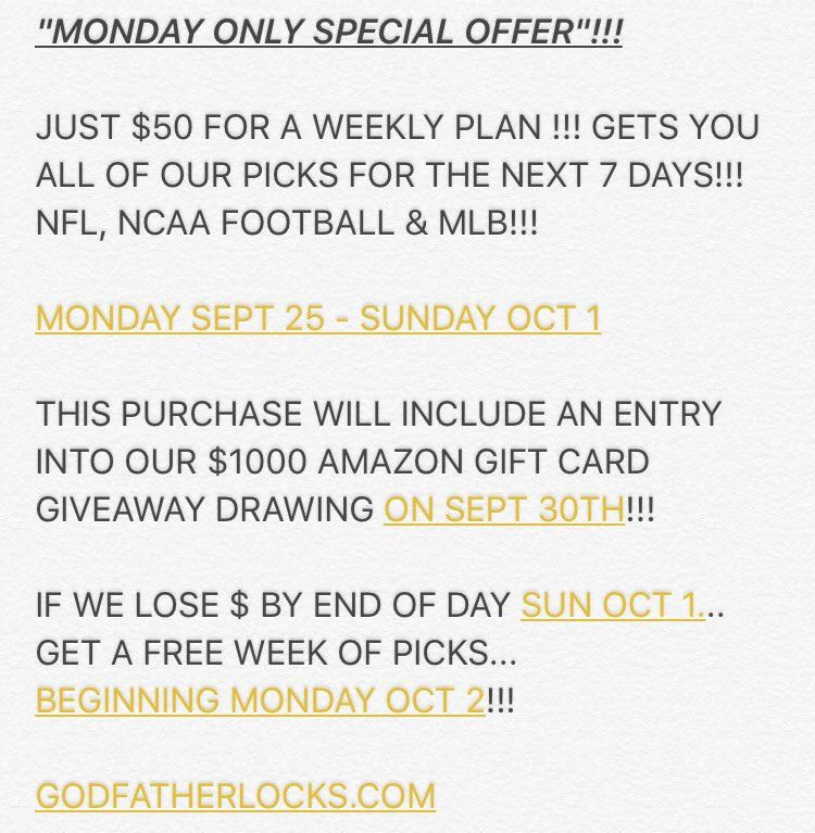 A HUGE MONDAY ONLY WEEKLY PLAN SPECIAL OFFER!!!  https://t.co/blcDF7HiXd https://t.co/NZihzswGvN
