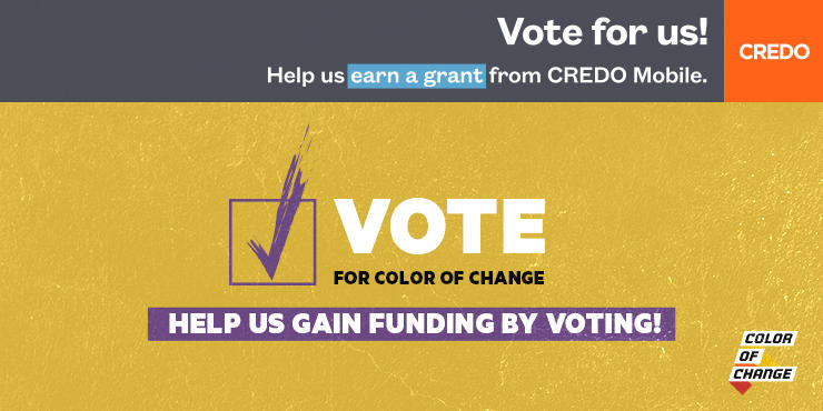 You can help us earn funding with just a click of a button! Vote for Color Of Change today: https://t.co/whwCosfZJD https://t.co/NECF74W3jv