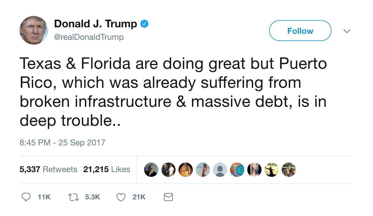 Trump brings up Puerto Rico's Wall Street debts in first tweet about the island since Friday https://t.co/QJscWRN5lW https://t.co/6iy5Mu1aPZ