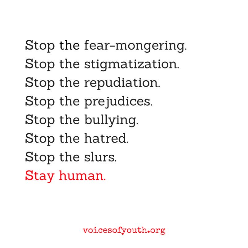 Stay human.   RT to spread this important message from @VoicesofYouth - our channel by youth, for youth. https://t.co/YwZfD7x9Ca