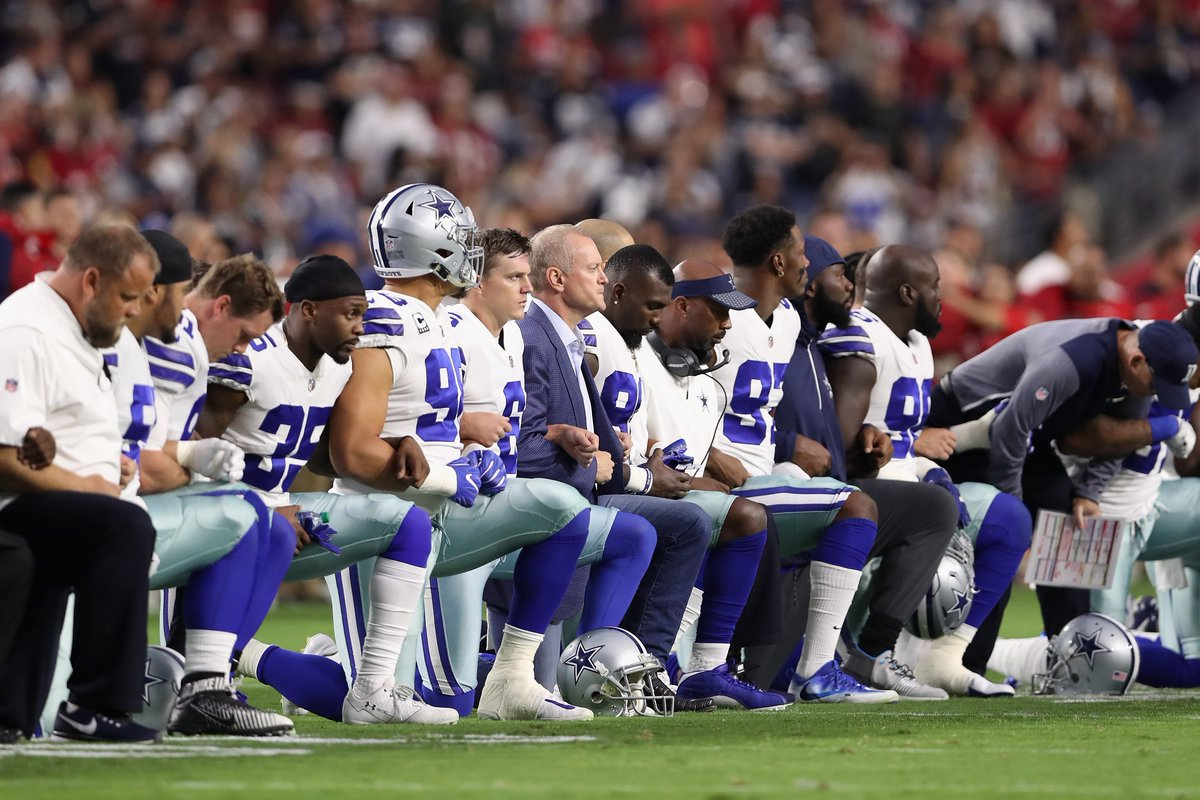 The Cowboys and Jerry Jones took a knee before the anthem on Monday Night Football