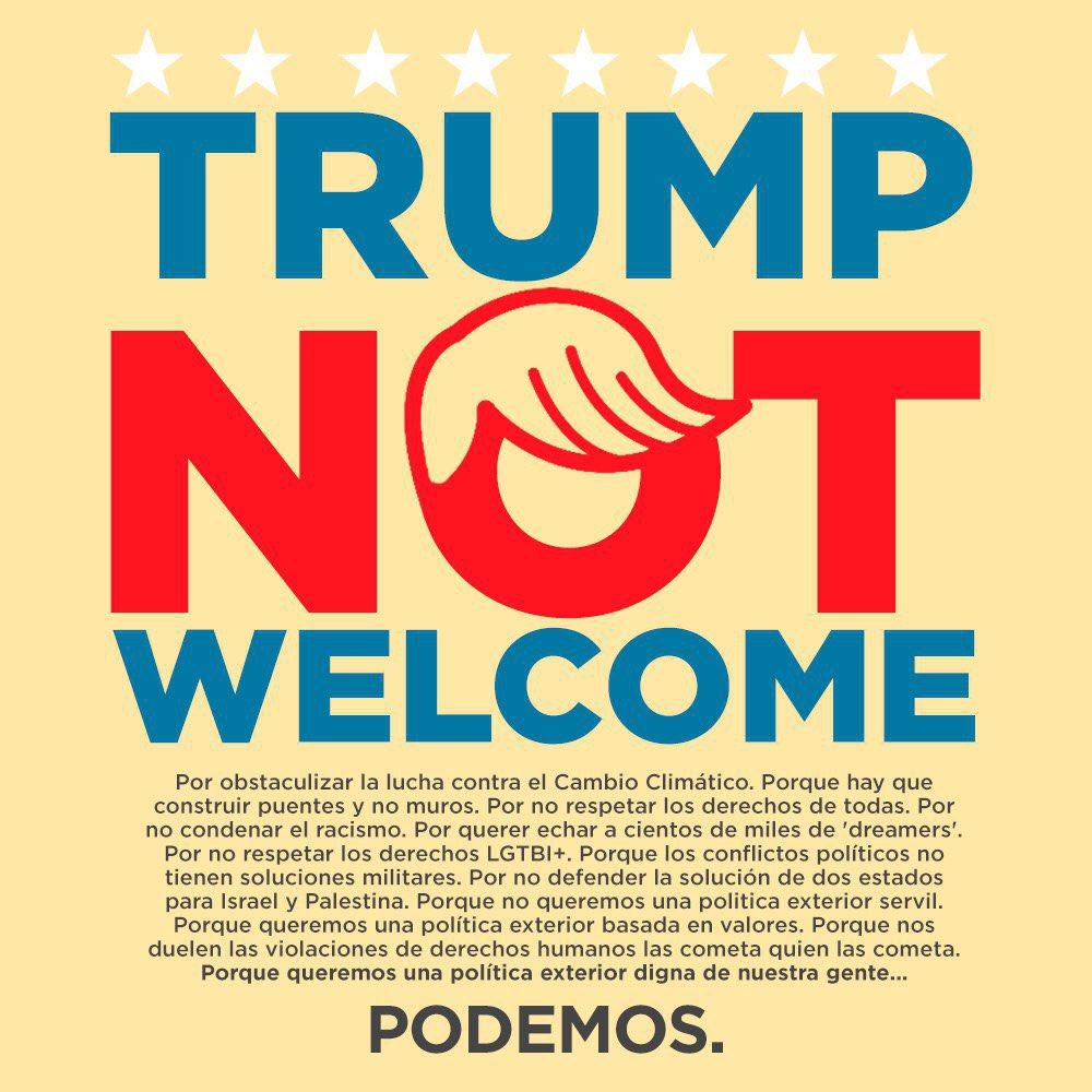 RT @Pablo_Iglesias_: ¿Quién decían que se parecía a Trump aquí en España? 🤔 Y avisamos... #TrumpNotWelcome https://t.co/02shNfRiCH