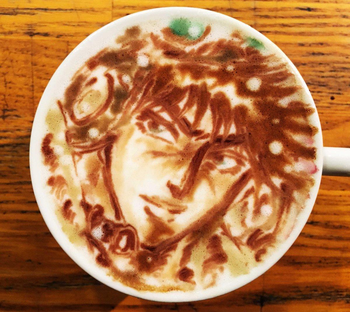 ラテアート【ジョセフ・ジョースター】@ジョジョの奇妙な冒険LatteArt【JOJO】本日お誕生日で一杯。Happy B