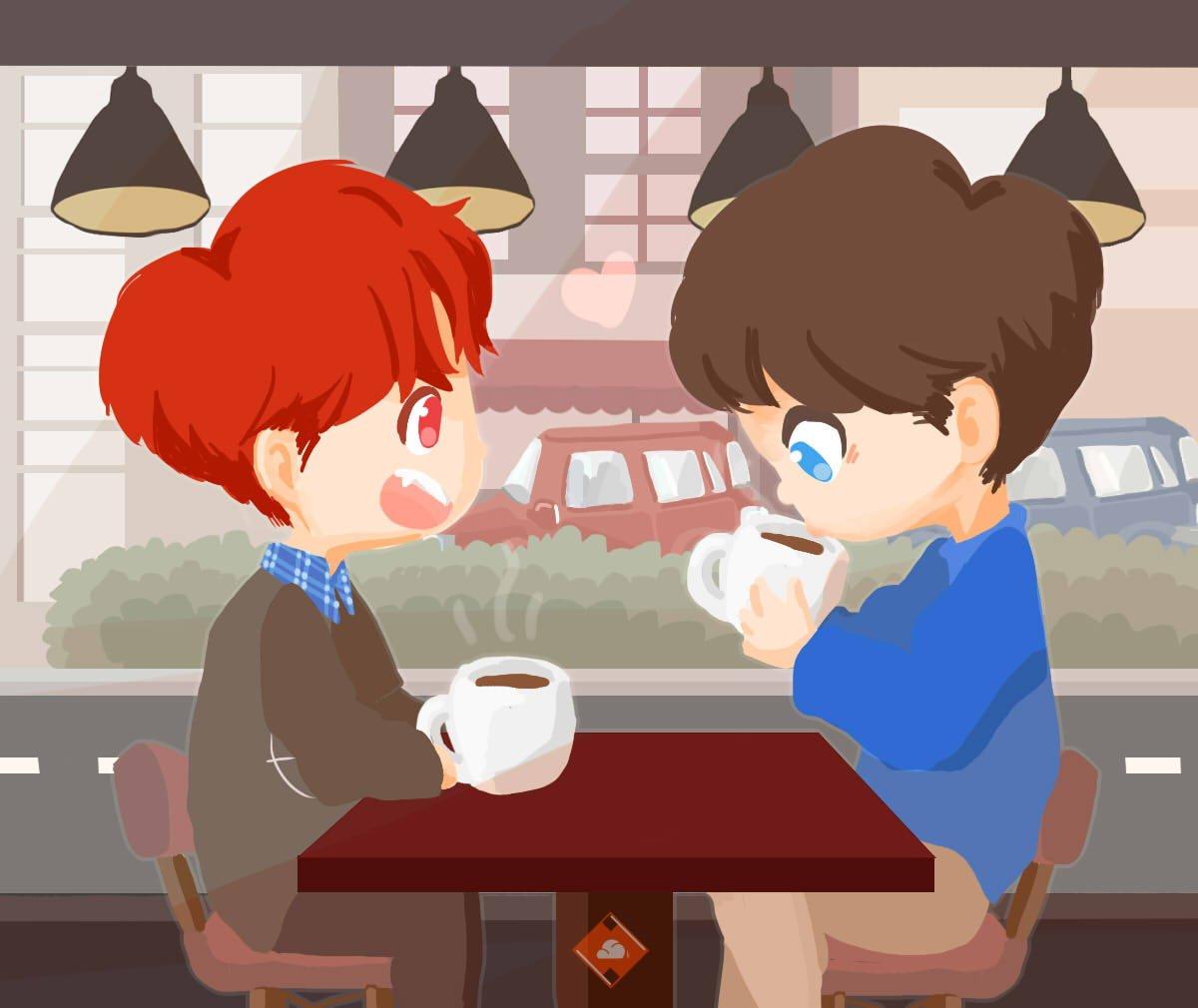 ☕️#markjin cafe date �� #GOT7fanart #mark #jinyoung https://t.co/a593jGYHvE