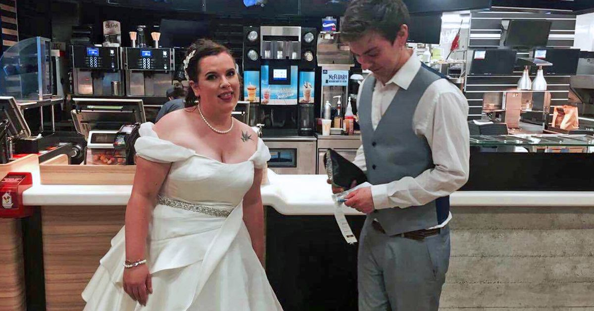 Newlyweds enjoy table service in McDonald's after being so busy they missed out on their £2,000 wedding buffet