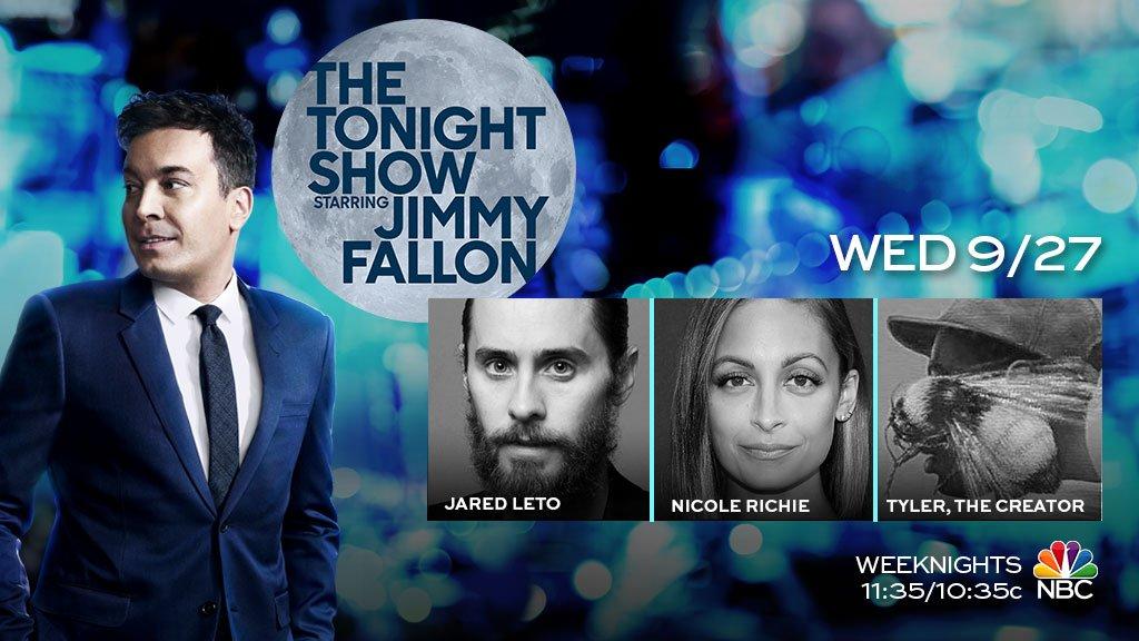 RT @FallonTonight: Tonight we have @JaredLeto, @nicolerichie & music from @tylerthecreator! #FallonTonight https://t.co/Nen5d0vB7g