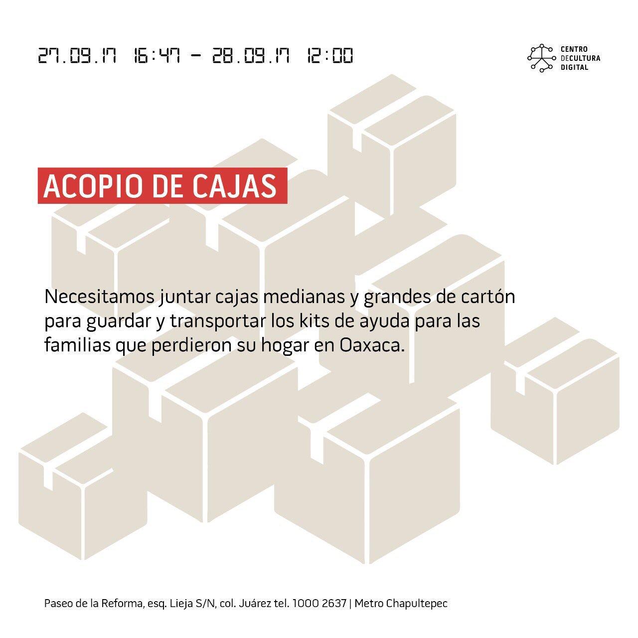 El @CCDmx necesita cajas para los kits de ayuda que están armando para enviar a Oaxaca. ❤️  ��  RT #FuerzaMéxico https://t.co/2peCG1WKrq