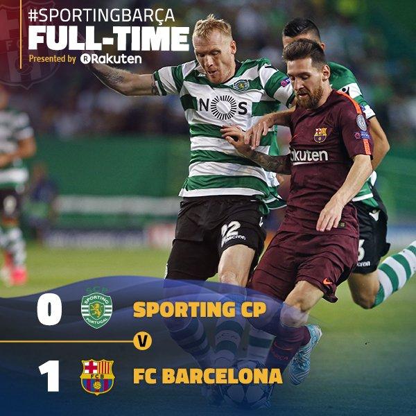 RT @FCBarcelona: ???? Final whistle in Lisbon!  ???????? ⚽️ #SportingBarça (0-1) ???????? #ForçaBarça https://t.co/zP5wY248rP