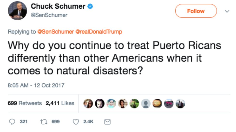 Schumer to Trump: Why do you treat Puerto Ricans differently than other Americans? https://t.co/1sBu43UMA5 https://t.co/R0jwJCDpOi