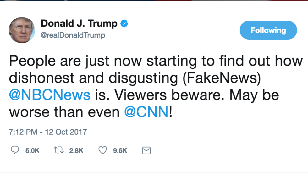 Trump resumes attack against NBC one day after threatening its broadcast license https://t.co/5sgm7dvVoy https://t.co/aCrbmB2EyT