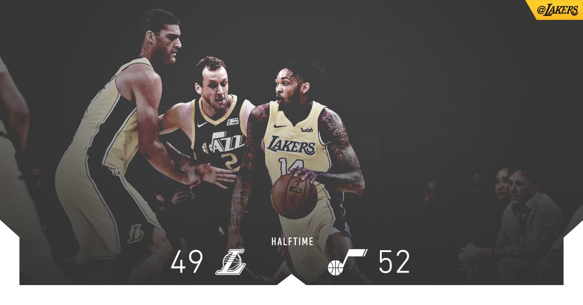 Brandon Ingram (9 pts) and Alex Caruso (6 ast) lead the charge as we head to halftime in DTLA. https://t.co/vhwH17QBda