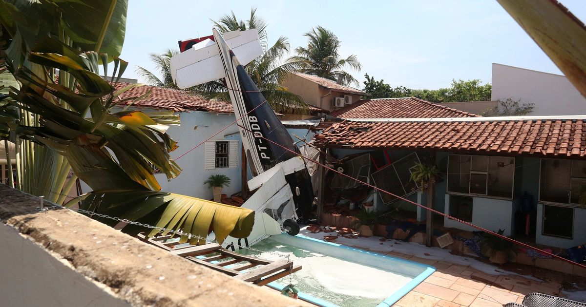 Three killed after plane crashes into garden swimming pool in Brazil