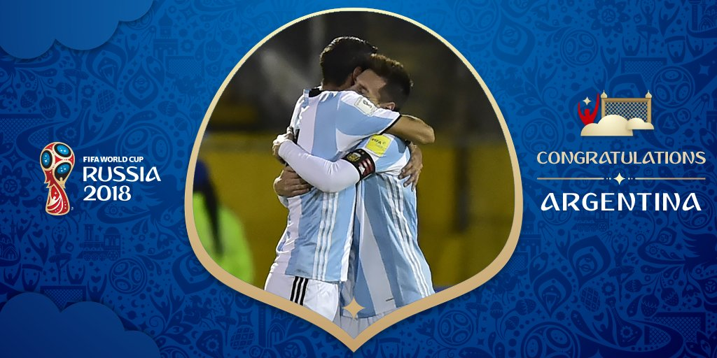 RT @FIFAWorldCup: QUALIFIED! ???? Congratulations, ????????Argentina! ???? The 2014 finalists have their spot in ????????Russia! #WCQ https://t.co/10DigB4Dwd