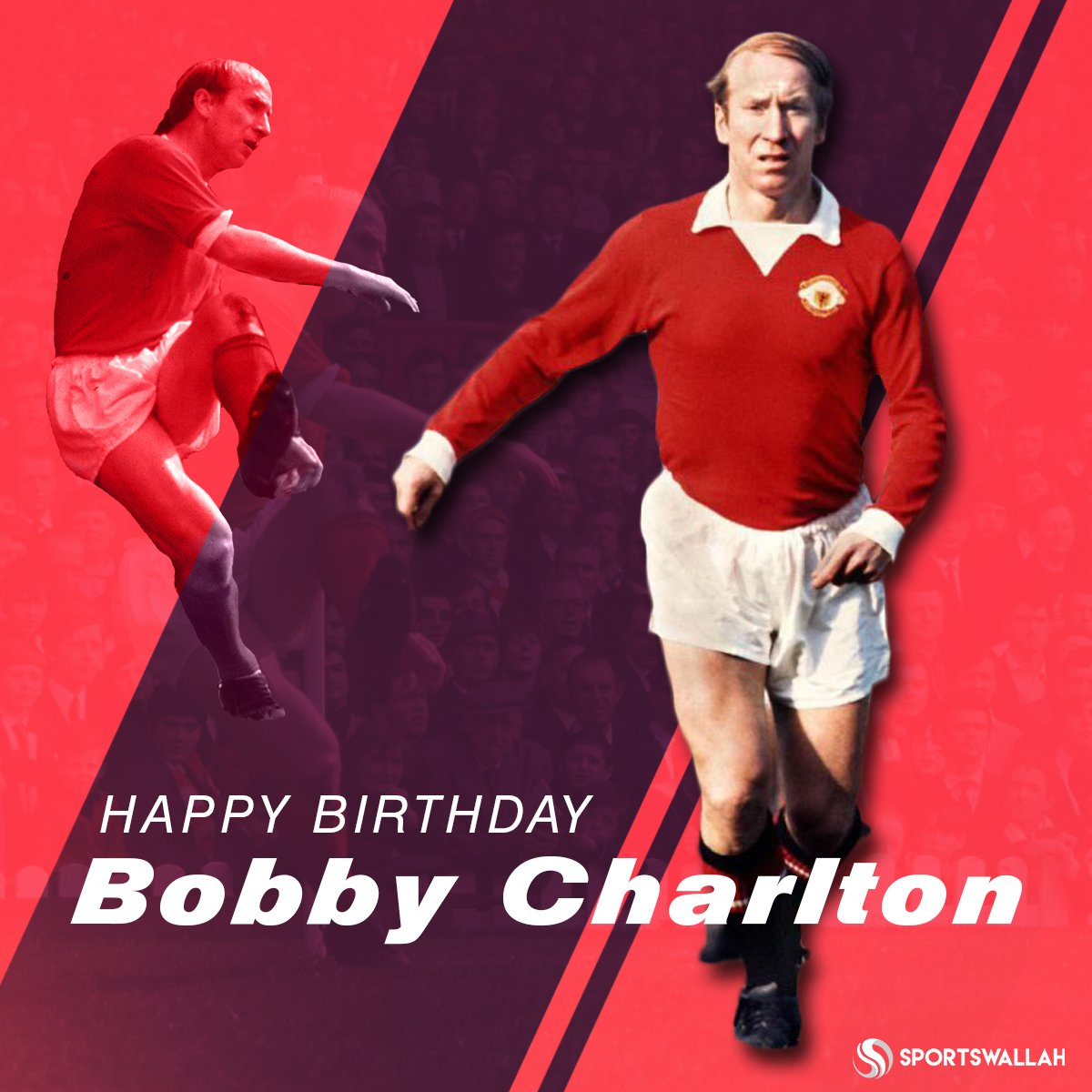 12 trophies 249 goals  758 games Happy birthday to one of greatest legends, Sir Bobby Charlton.