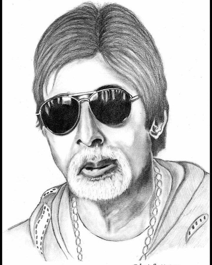 """Happy Birthday to the \""""LEGEND OF BOLLYWOOD\"""" My Sketch :Amitabh Bachchan"""