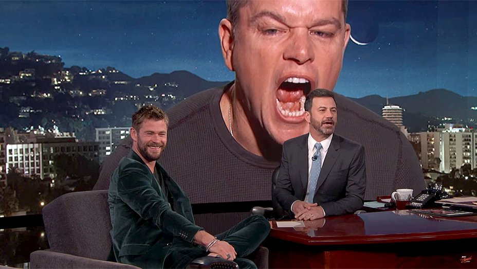 Watch Matt Damon interrupt @ChrisHemsworth's interview with Jimmy Kimmel