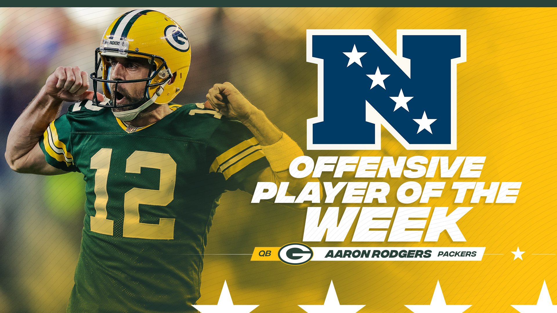 .@AaronRodgers12 is the NFC Offensive Player of the Week for Week 5!  ��: https://t.co/756scbL4ap  #GoPackGo https://t.co/OZUIthyNvC