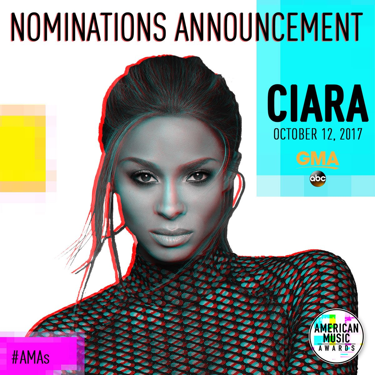 TOMORROW: @ciara brings us the @AMAs nominations LIVE in Times Square, only on @GMA! https://t.co/i5f8nVK3yF