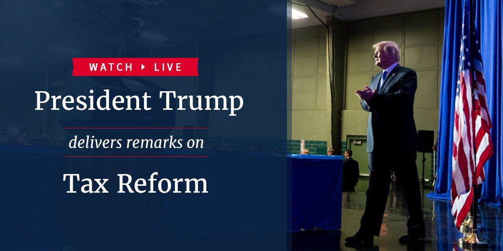 Watch LIVE as President Trump delivers remarks on tax reform: https://t.co/wGuXWKFavV https://t.co/RPSXrhwKrW