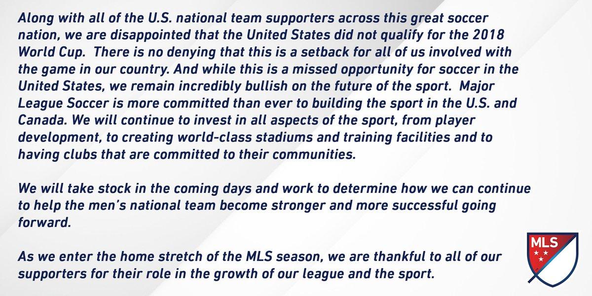 RT @MLS: MLS provides statement regarding World Cup qualifying results. https://t.co/7qmTFKXvmr
