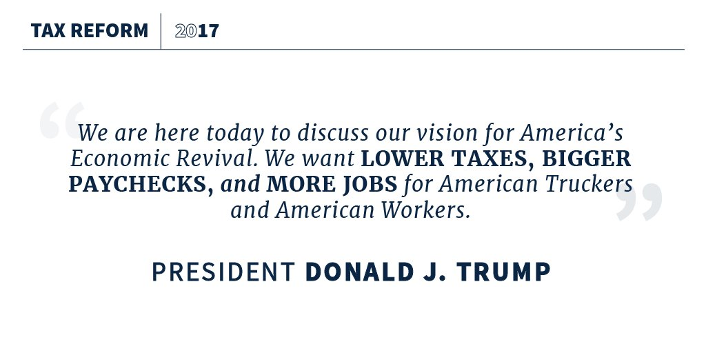 'We want LOWER TAXES, BIGGER PAYCHECKS, and MORE JOBS for American Truckers and American Workers.' https://t.co/DsoaRCiwU2