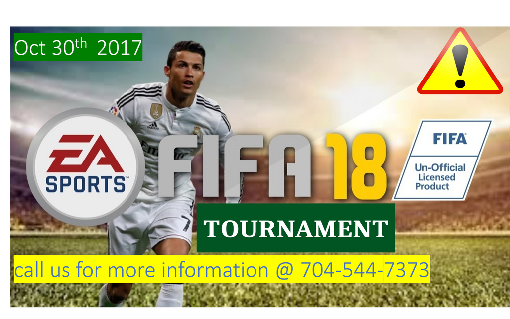#FIFA18 TOURNAMENT ON OCTOBER 30TH MAKE SURE YOU CALL 704-544-7373 OR VISIT US @ 11812 CAROLINA PLACE PARKWAY PINEVILLE, NC. 28134 SUITE C. https://t.co/TPEX3zo9dH
