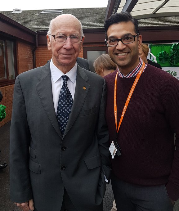 Happy birthday Sir Bobby Charlton. Great honour to meet the man himself.