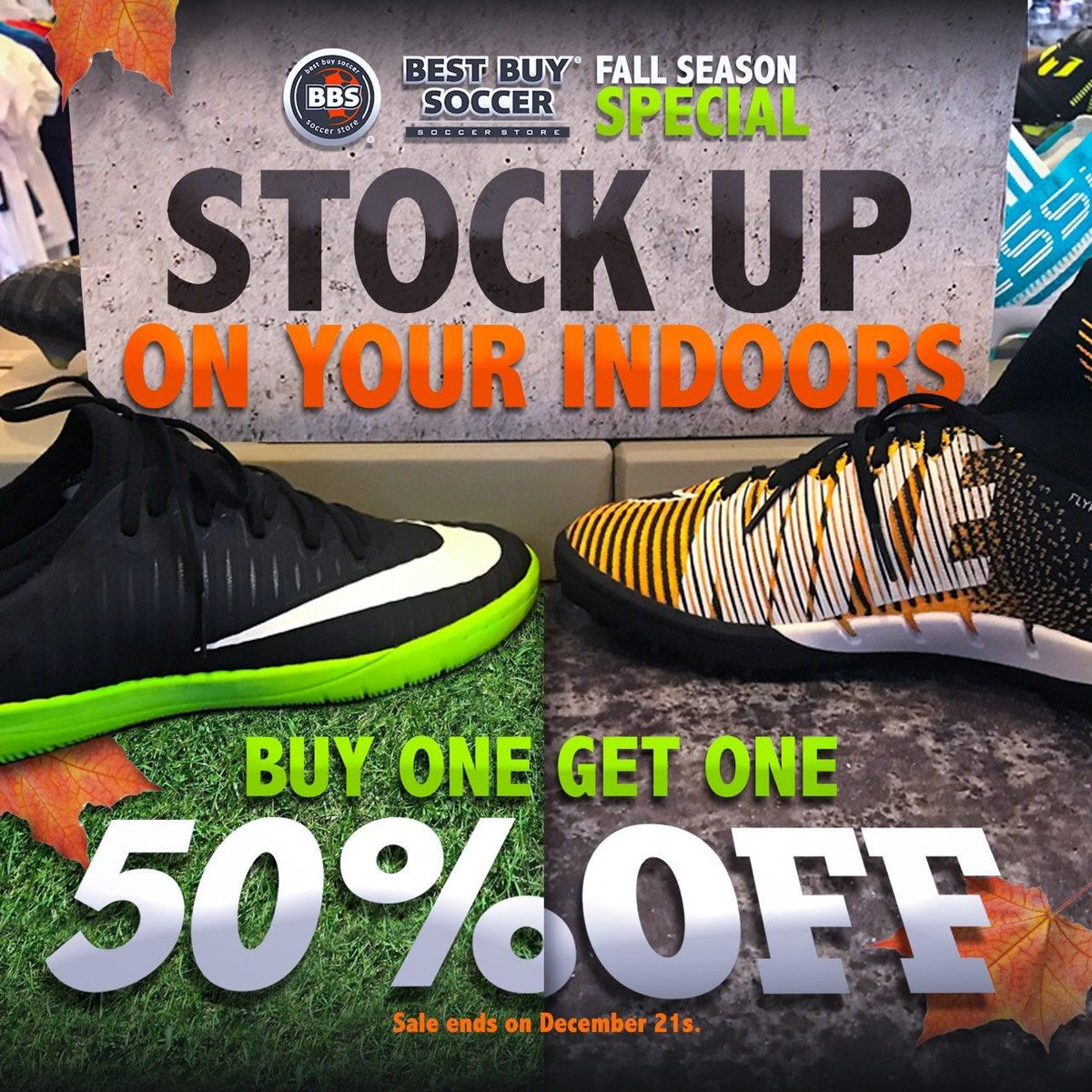 Buy one Get one 50 % OFF on ALL INDOORS. call us @ 704-544-7373 or visit us @ 11812 Carolina place parkway  #bestbuysoccer #bogo #soccer https://t.co/O2CvsXsY5f
