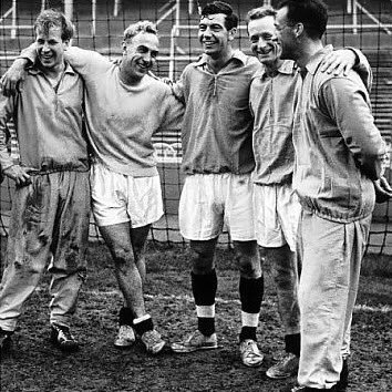 Happy 80th Birthday to Sir Bobby Charlton, seen here with Billy Wright, Johnny Haynes, Tom Finney and Nat Lofthouse