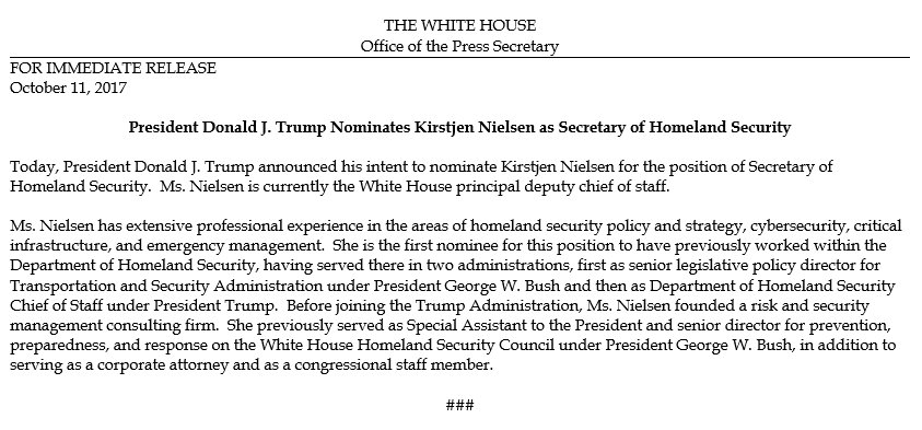 Great choice by @POTUS for Secretary of Homeland Security! https://t.co/51ey4fRme6