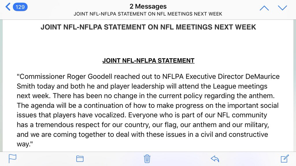 A statement from the @NFL and @NFLPA on next week's meetings. Players will be there. https://t.co/iKNFVodhPr