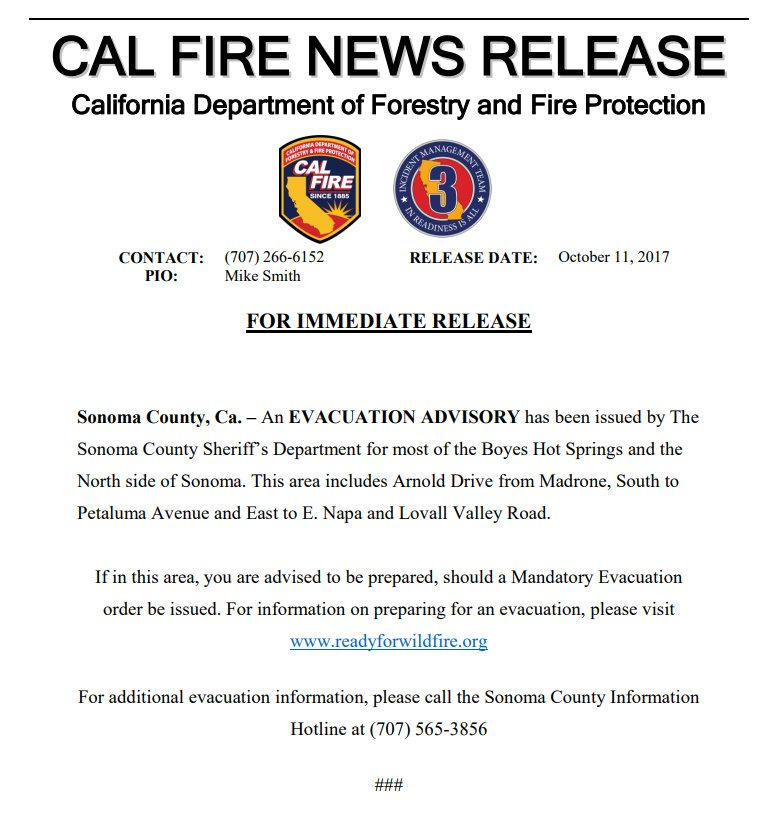 NEW: An Evacuation Advisory has been issued for most of Boyes Hot Springs in Sonoma county, according to Cal Fire. https://t.co/IcvD2oOsjx