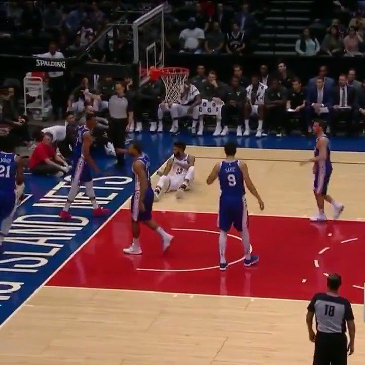 In his first game of the #NBAPreseason, Joel Embiid went for 20 PTS & 7 REBS in the 1st half! https://t.co/xYDYIeIyf9