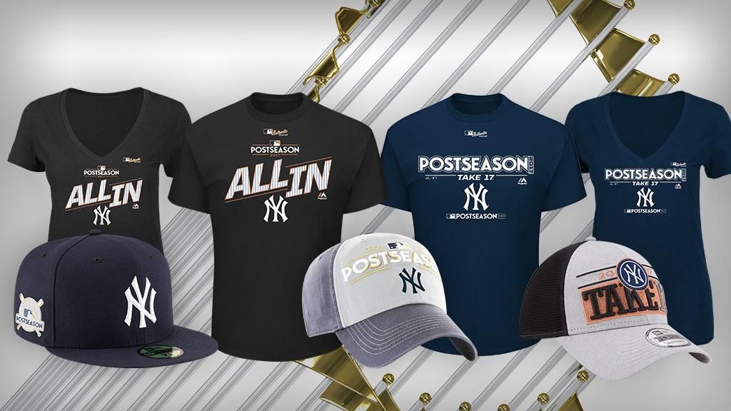Wear your #PinstripePride on your sleeve.  Get the gear to celebrate the @Yankees' comeback: https://t.co/UhLGNNrJXK https://t.co/lnxISsb7Gn