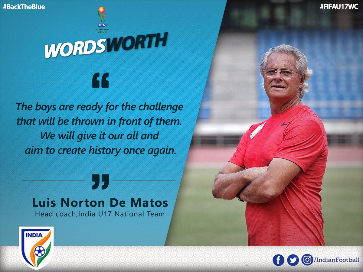 RT @IndianFootball: Coach Matos believes that the boys will create history tonight #GHAvIND #BackTheBlue #FIFAU17WC https://t.co/cCFrebYzKy