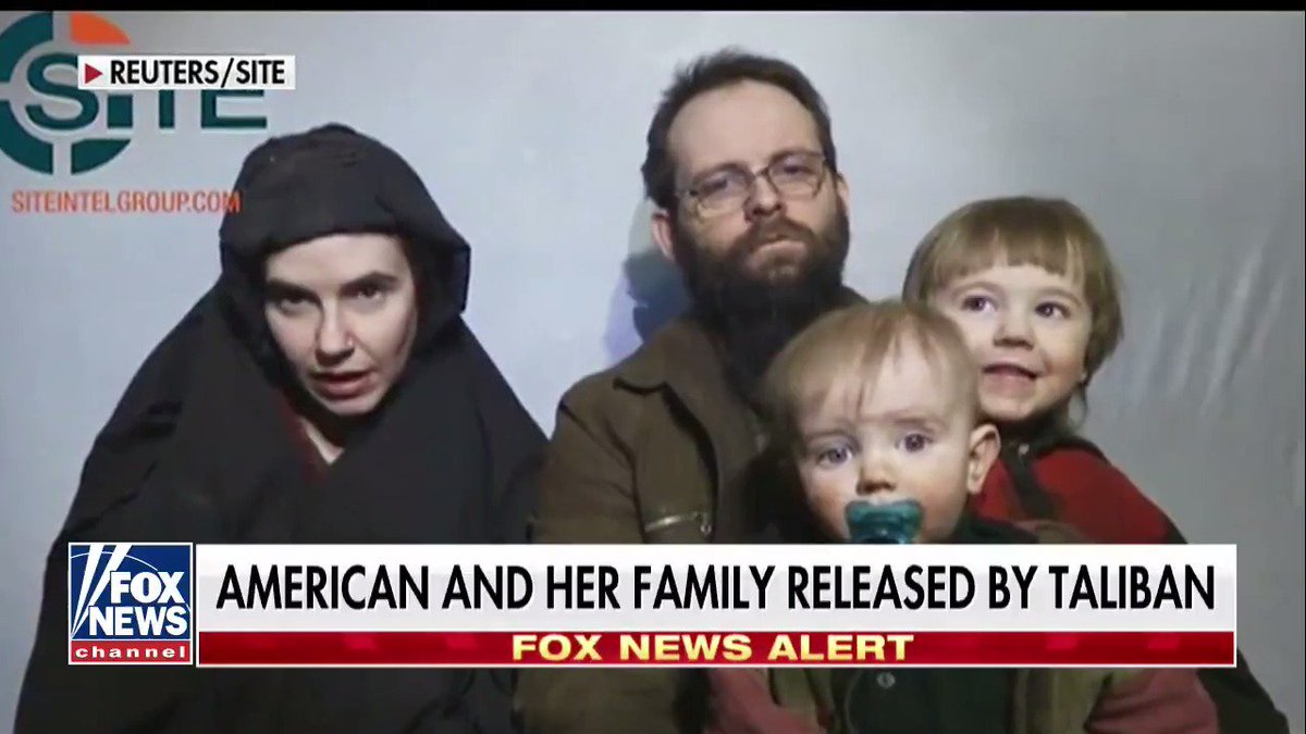 BREAKING NEWS American and her family released by Taliban.